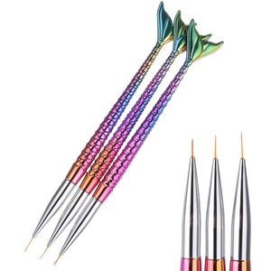 Liner Brushes, Mermaid Handles, 3 Pce Set