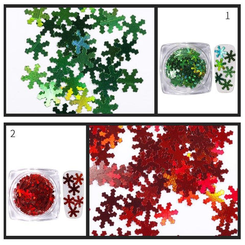 Image of Holographic Snowflake Sequins, 12 Jar Set