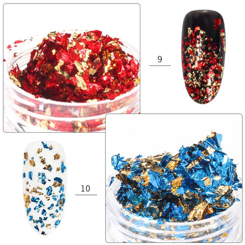 Metallic Leaf Foil Flakes, 12 Jar Set