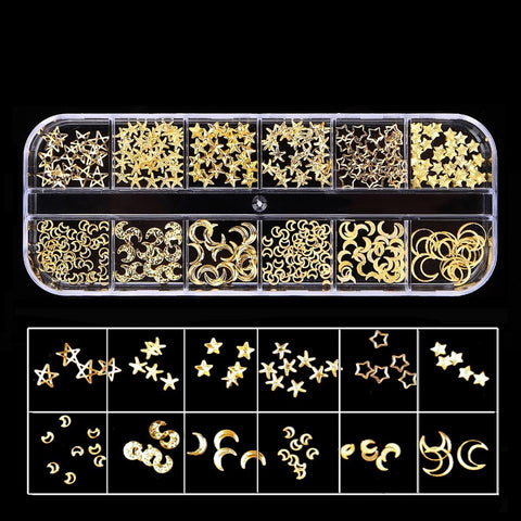 Gold Metal Moon & Star Set, 12 Styles