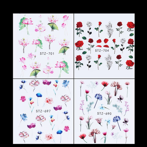 Flower Water Transfer Decals, 24 Sheets