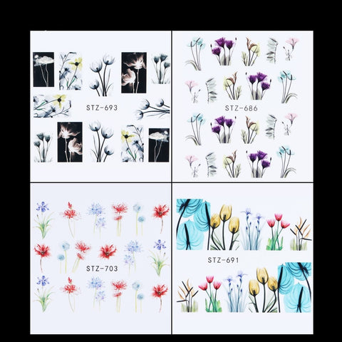 Image of Flower Water Transfer Decals, 24 Sheets