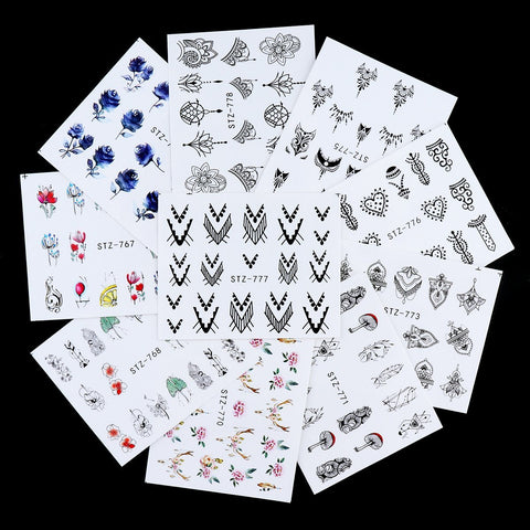 Assorted Water Transfer Decals, 11 Sheets