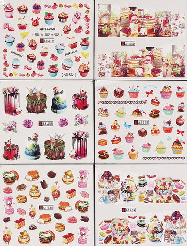 Cupcakes & Desserts Water Transfer Decals, 24 Sheets