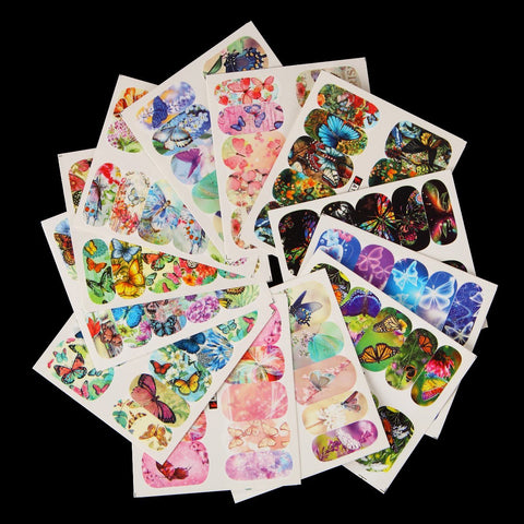Butterfly Water Transfer Decals, 12 Sheets
