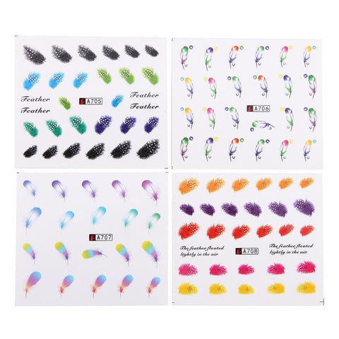 Feathers Water Transfer Decals, 24 Sheets