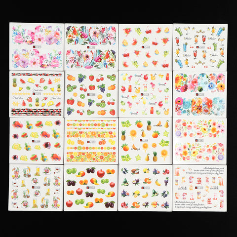 Cocktails & Flowers Water Transfer Decals, 48 Sheets