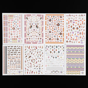Aboriginal Style Nail Stickers, 8 Sheets