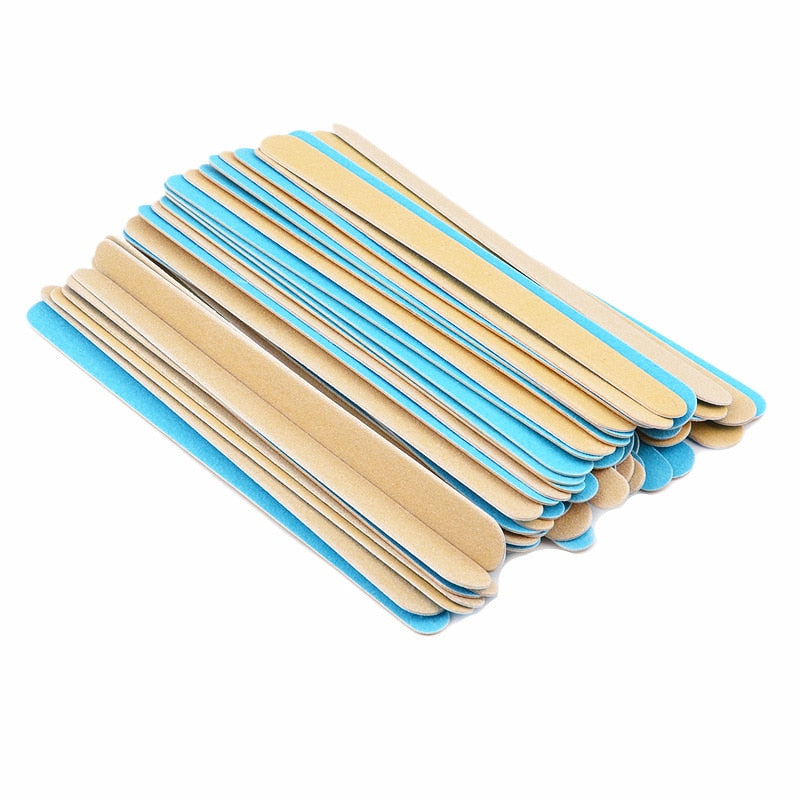 Thin Wood Nail Files, Blue 150/150, 100 Pieces