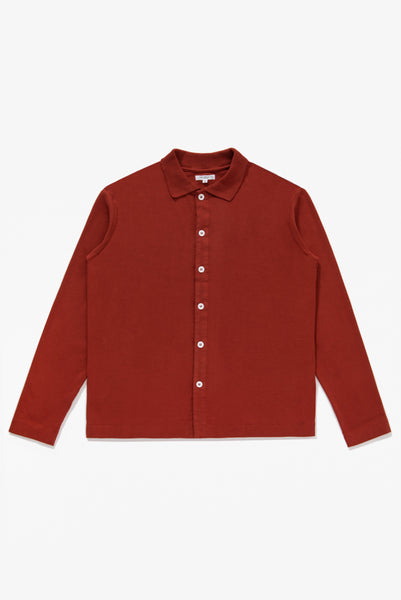L/S PLACKET POLO - RED OCHRE