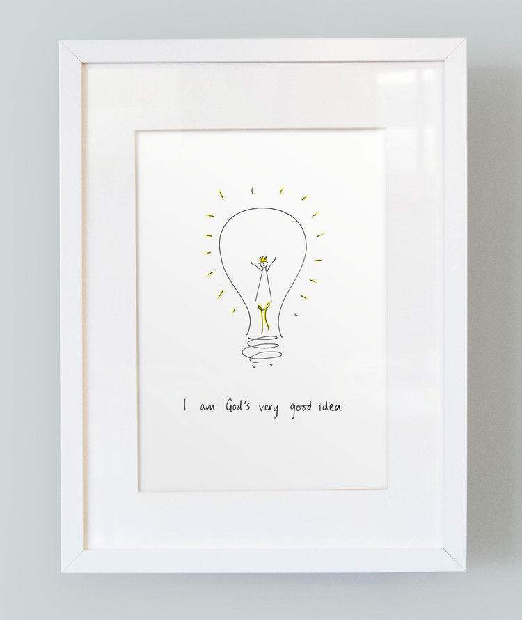 'I am God's very good idea' Unframed Boy's Print