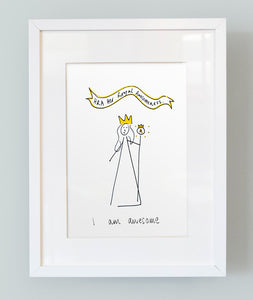'I am awesome' Unframed Girl's Print