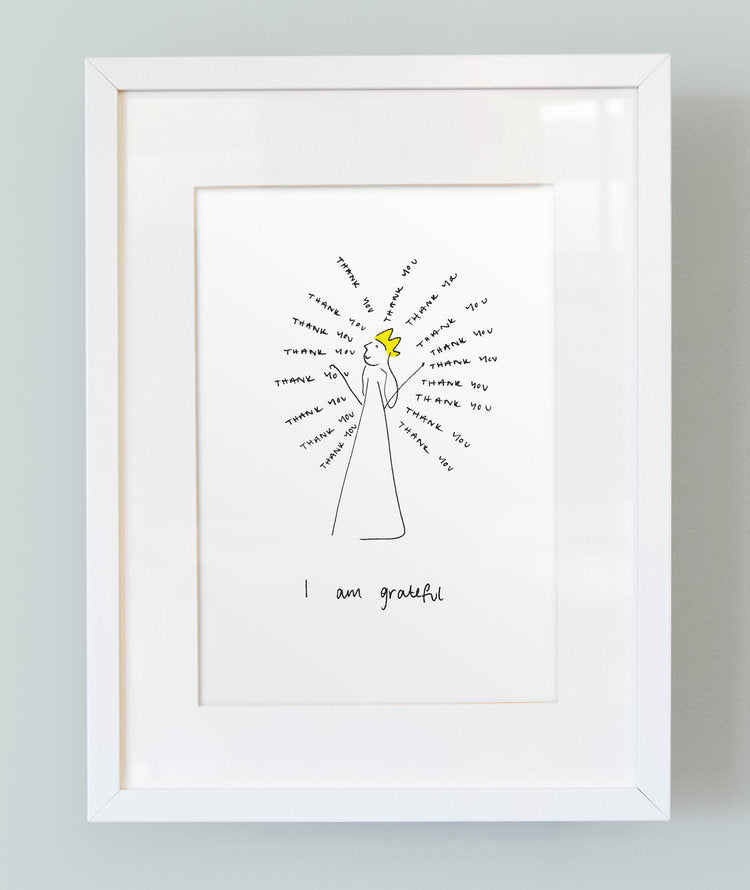 'I am grateful' Unframed Girl's Print
