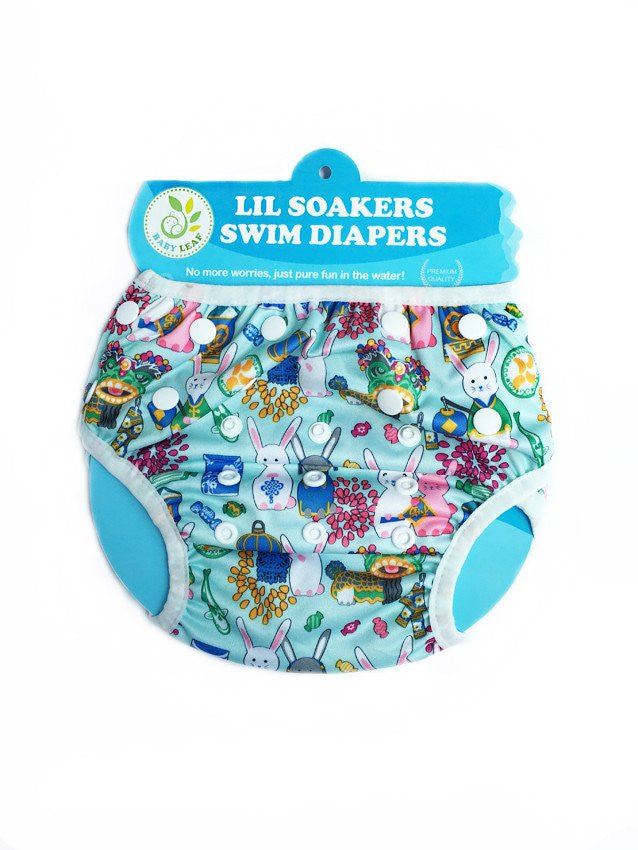 Lil Soakers Swim Diaper - Cloth Diapers - Mothering Earthlings - Baby Leaf - 1