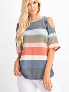 Muted Hues Cold Shoulder Top
