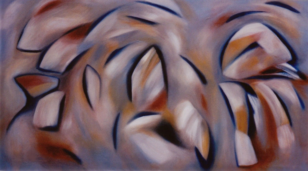 Large abstract painting that depicts the ovoid shapes in browns and golds of the forest in autumn by Canadian painter Gregg Simpson.