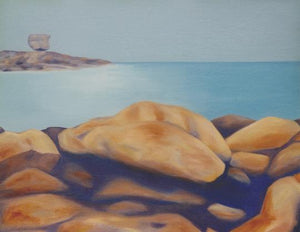 Large landscape painting depicting a turquoise ocean and stylized pink and ocher rocks on the Cote de Granit Rose in northern Brittany by Canadian painter Gregg Simpson.