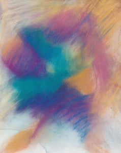 Abstract pastel featuring jewel-like colors exploding across the page—deep purple, magenta, bright green, sunny gold—by Canadian painter Gregg Simpson.