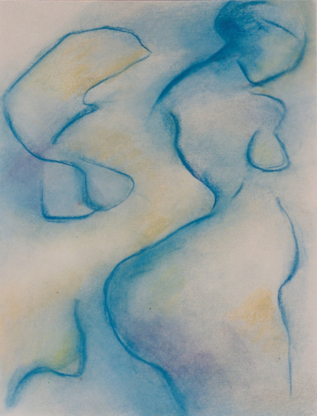 Stylized, modern art-inspired figure of a nude woman seen in profile and outlined in deep blues over an ocher and mauve background by Canadian painter Gregg Simpson.