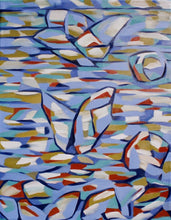 Load image into Gallery viewer, Large abstract painting in lavender shades with red and ocher accents and lightly suggested shapes of swimmers and boaters at a beach by Canadian painter Gregg Simpson.