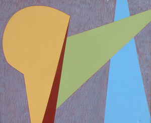 A geometric modern art piece depicting four distinct shapes—a large gold club-like shape facing left, a thin wedge of deep brown, a horizontal triangle of light green across the middle and a vertical triangle of light blue to the right—by Canadian painter Gregg Simpson.