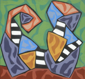 Two stylized figures composed of crazy-angled shapes with black and white stripes, textured pinks and blues, and textured ochers and purples face each other on a green background by Canadian painter Gregg Simpson.