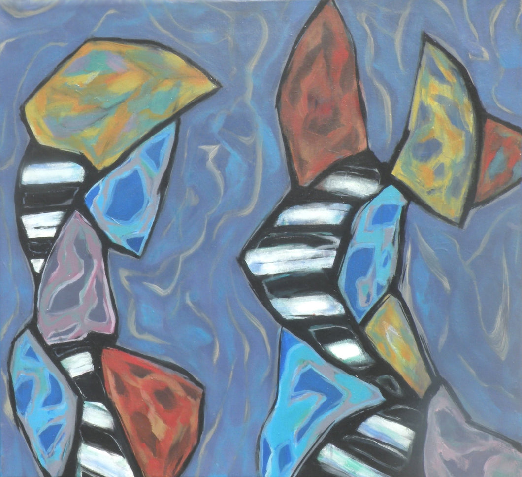 Two stylized figures composed of crazy-angled shapes with black and white stripes, textured yellows, reds, and turquoises face each other on a gray-blue textured background by Canadian painter Gregg Simpson.