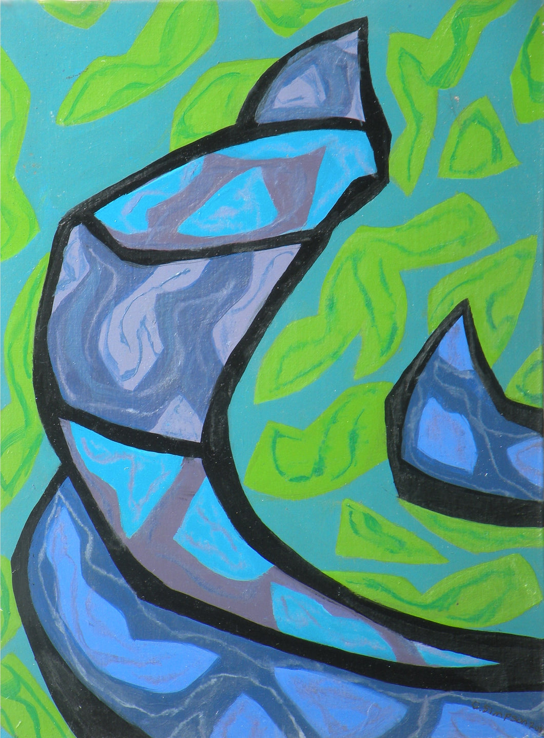 Beautiful turquoise and blue patterned swooping shape is an abstract depiction of the steering mechanism on a Venetian gondola and set against a bright green, water-like background by Canadian painter Gregg Simpson