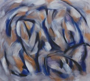 A large abstract painting with swirling shapes of indigo and gray painted with fluid brushwork by Canadian painter Gregg Simpson.