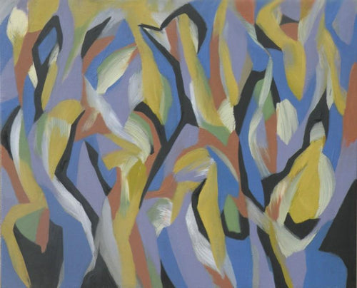 Densely painted lozenge-like forms in lavender, yellow, blue and black dance across the abstract canvas by Canadian painter Gregg Simpson.