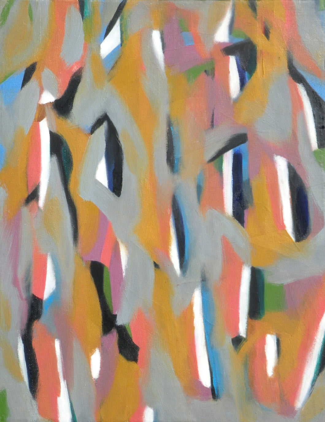 Cheerful abstract painting of loosely painted vertical stripes in ocher, pink and blue on a gray background by Canadian painter Gregg Simpson.