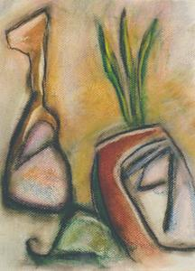 A Spain-inspired abstract pastel drawing showing a guitar and a palm tree loosely depicted in the style of Picasso by Canadian painter Gregg Simpson.