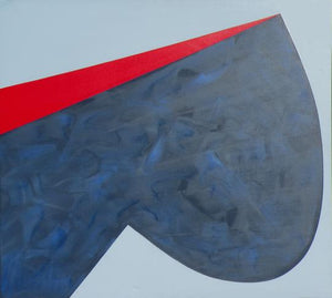 A geometric modern art piece depicting a large, indigo blue bulbous shape on a light gray background with a thin wedge of bright red at the top by Canadian painter Gregg Simpson.