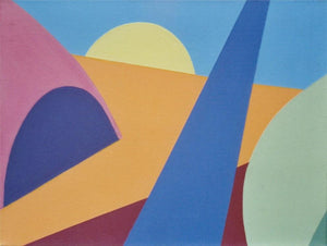 A geometric modern art piece with several hard-edge shapes that combine to show a stylized desert landscape topped with a yellow setting sun against a bright blue sky by Canadian painter Gregg Simpson.