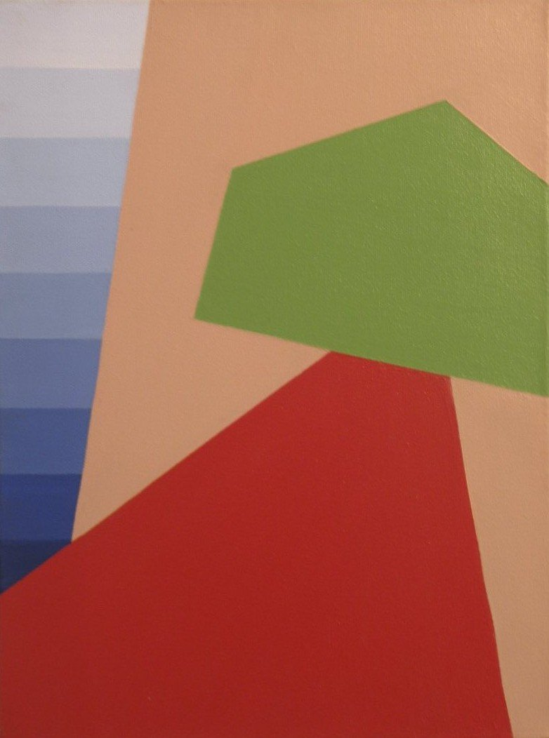 A geometric modern art piece with block-like shapes including a skirt-shaped red triangle topped by a green shape that looks like a Monopoly house is against a tan background next to a strip of blue gradations resembling a paint sample strip by Canadian painter Gregg Simpson.