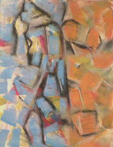 Two vertical bands bisect this purely abstract pastel drawing—blue fragments fill the band to the left and orange fragments fill the band to the right—by Canadian painter Gregg Simpson.
