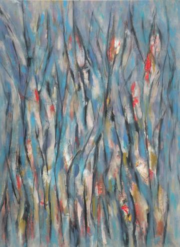 Subtly-shaded purely abstract painting in grays and blues studded here and there with splashes of bright red to indicate blossoms on a spring day by Canadian painter Gregg Simpson.