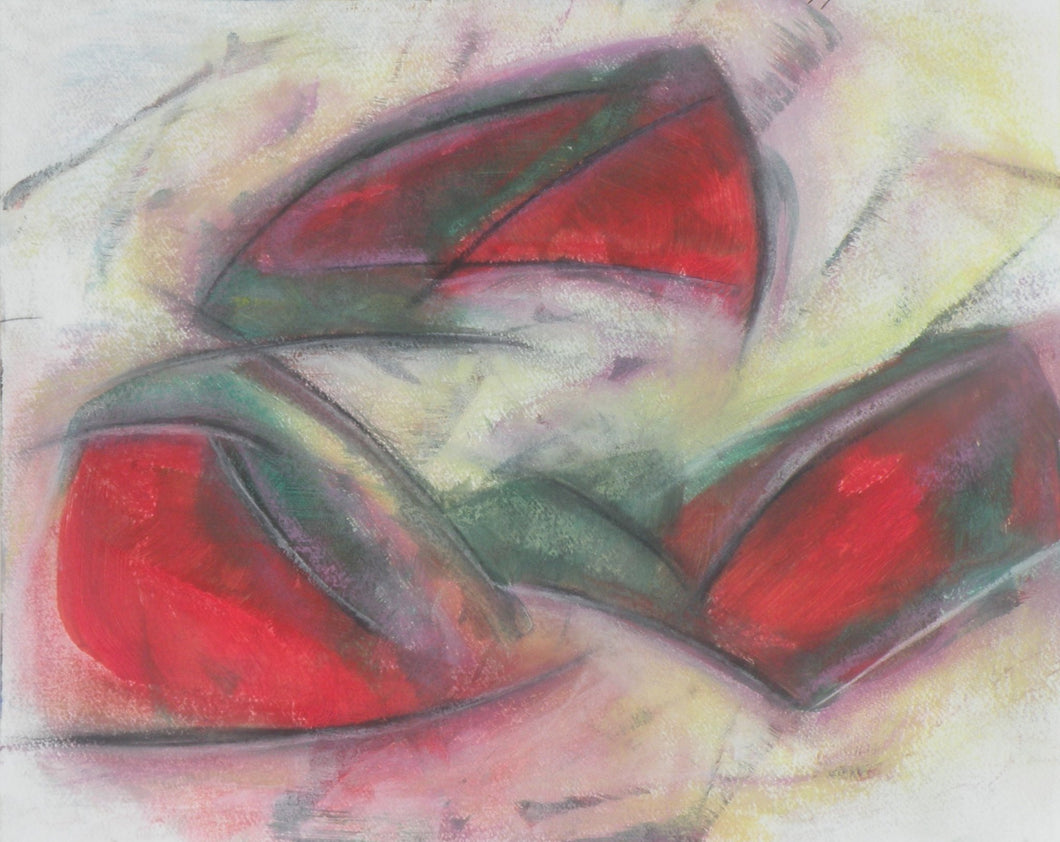 Three stylized shapes of bright red and green float above a washed out background in an abstract impression of a sunset rendered in pastels by Canadian painter Gregg Simpson.