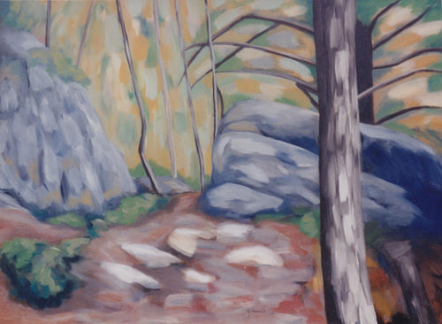 A landscape depicting a leafless tree in the right foreground and a woodland clearing flanked with stylized gray rocks with a yellow daubed sky by Canadian painter Gregg Simpson.