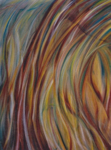 A large organic abstract of twisting bands of brown, gold, and green that evoke grasses swaying in the wind by Canadian painter Gregg Simpson.