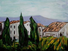 Load image into Gallery viewer, Stylized landscape of the Provencal village of Vaison-la-romain includes the outline of a mountain in the distance, two red-tiled houses in the middle, and three vertical cypress threes in the foreground by Canadian painter Gregg Simpson.