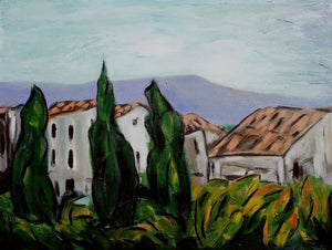 Stylized landscape of the Provencal village of Vaison-la-romain includes the outline of a mountain in the distance, two red-tiled houses in the middle, and three vertical cypress threes in the foreground by Canadian painter Gregg Simpson.