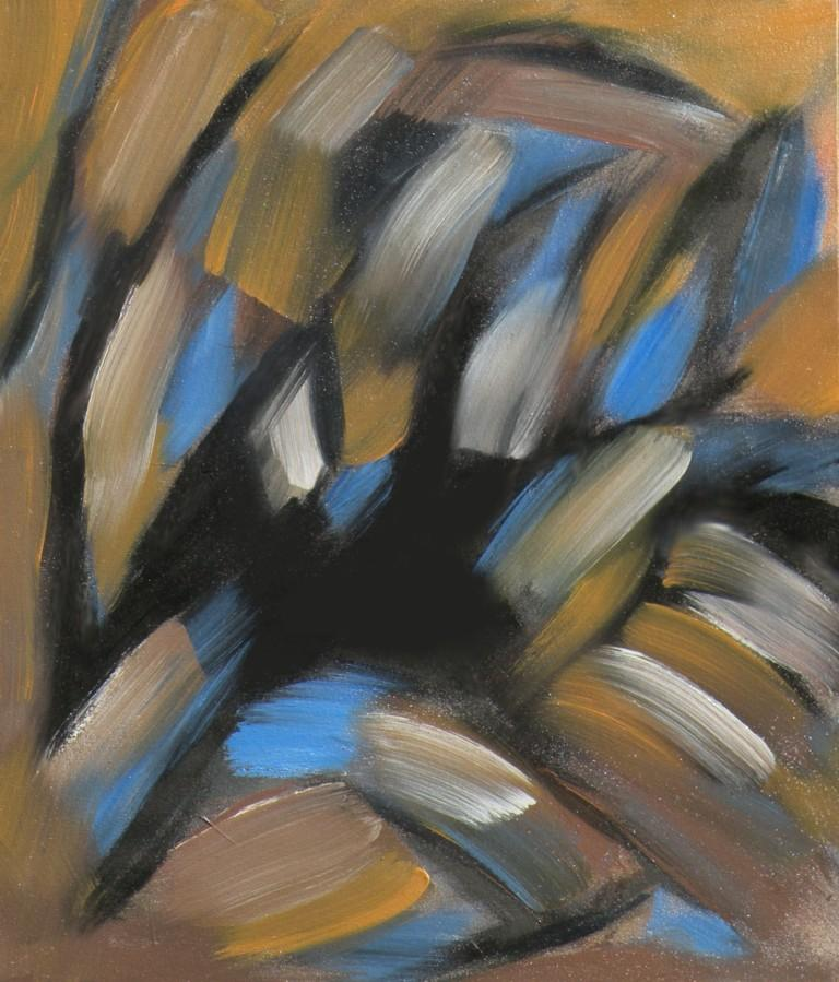Organic forms dominate a densely painted abstract of browns, bright blues, and blacks by Canadian painter Gregg Simpson.