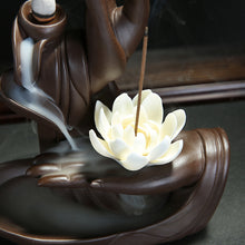 Load image into Gallery viewer, Backflow Incense Burner Lotus Buddha Hand