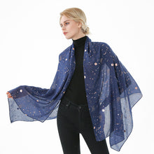 Load image into Gallery viewer, Starry Sky Gold Foil Design Scarf