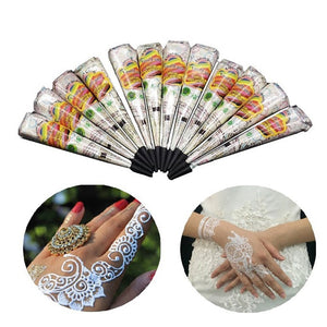 Indian Tattoo Henna Paste Cone For Body Art Drawing Temporary Hand Arm Paint Henna Cream White Color