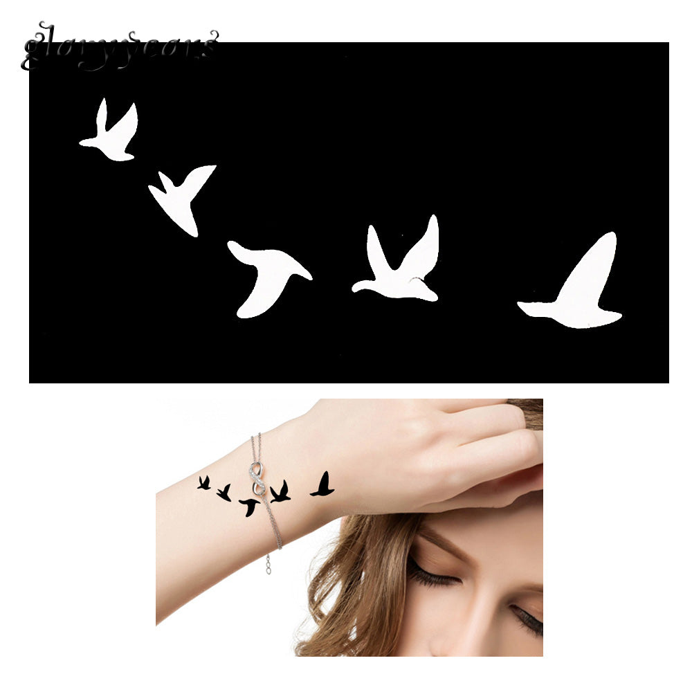 One Piece Henna Tattoo Stencil with Bird Pattern
