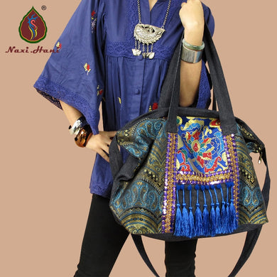 Embroidered Vintage Style Handbag with Tassels