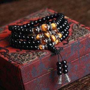 Onyx with Tiger Eye or Agate Tibetan Silver Men´s Bracelet