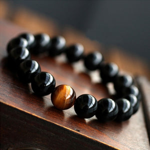 Natural Black Onyx with Tiger Eye Stone Bead Men's Energy Balance Bracelet